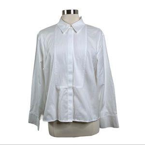 Chico's White NO-IRON Tuxedo Pleated Button